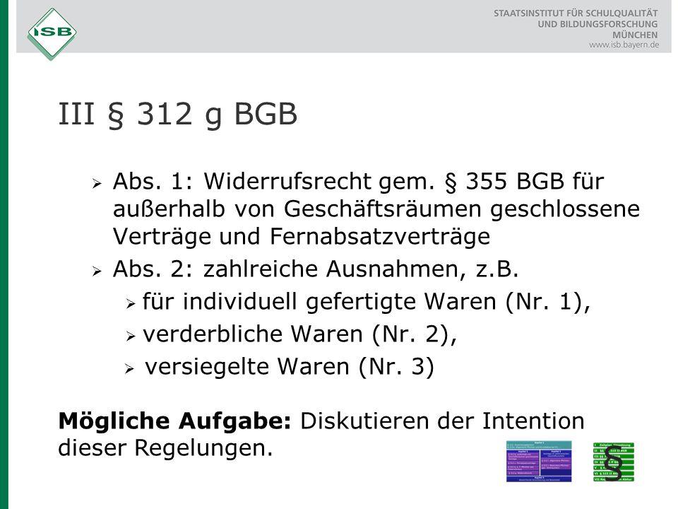 III § 312 g BGB Abs. 1: Widerrufsrecht gem. § 355 BGB für außerhalb von Geschäftsräumen geschlossene Verträge und Fernabsatzverträge.