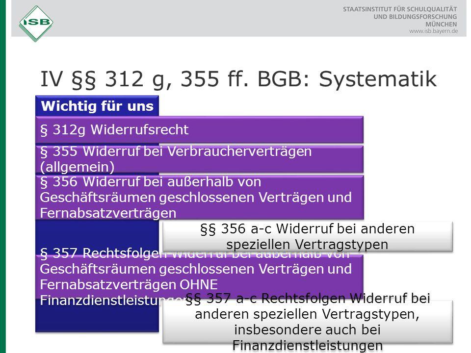 IV §§ 312 g, 355 ff. BGB: Systematik