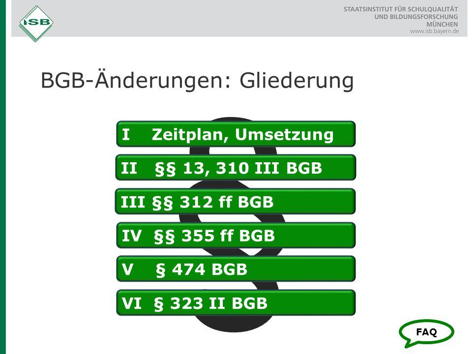 BGB-Änderungen: Gliederung