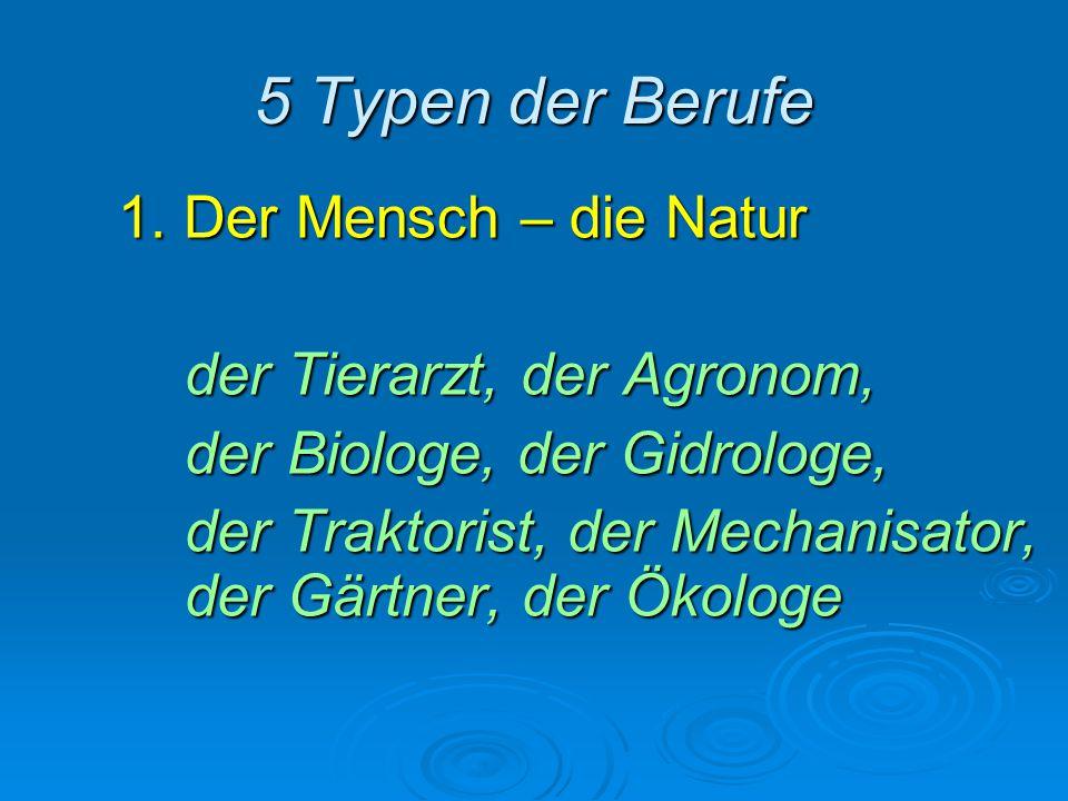 5 Typen der Berufe 1. Der Mensch – die Natur