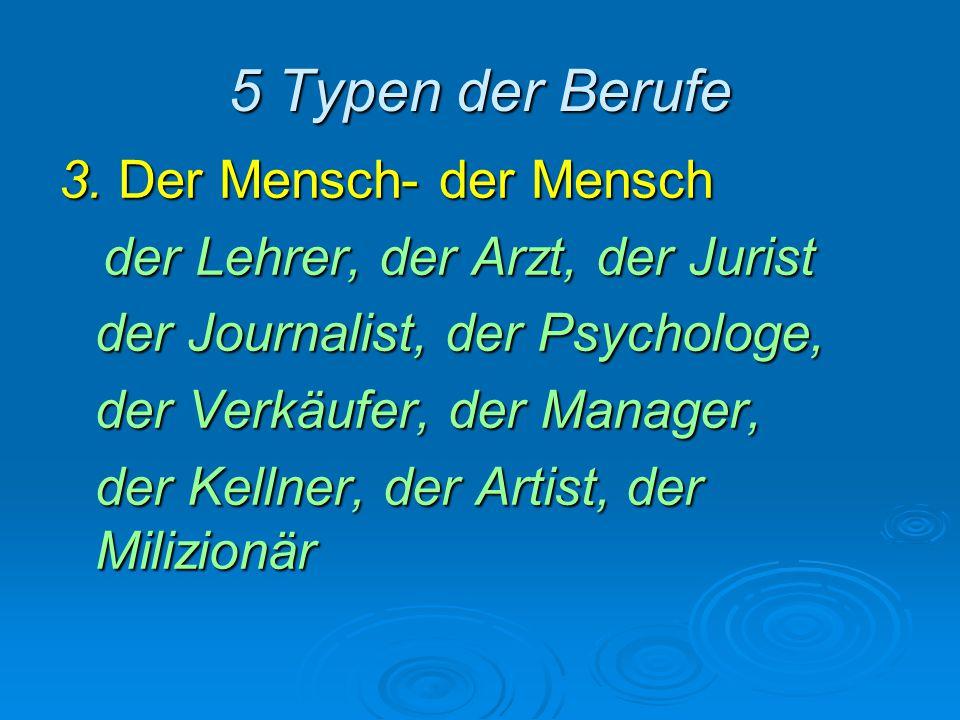 5 Typen der Berufe 3. Der Mensch- der Mensch
