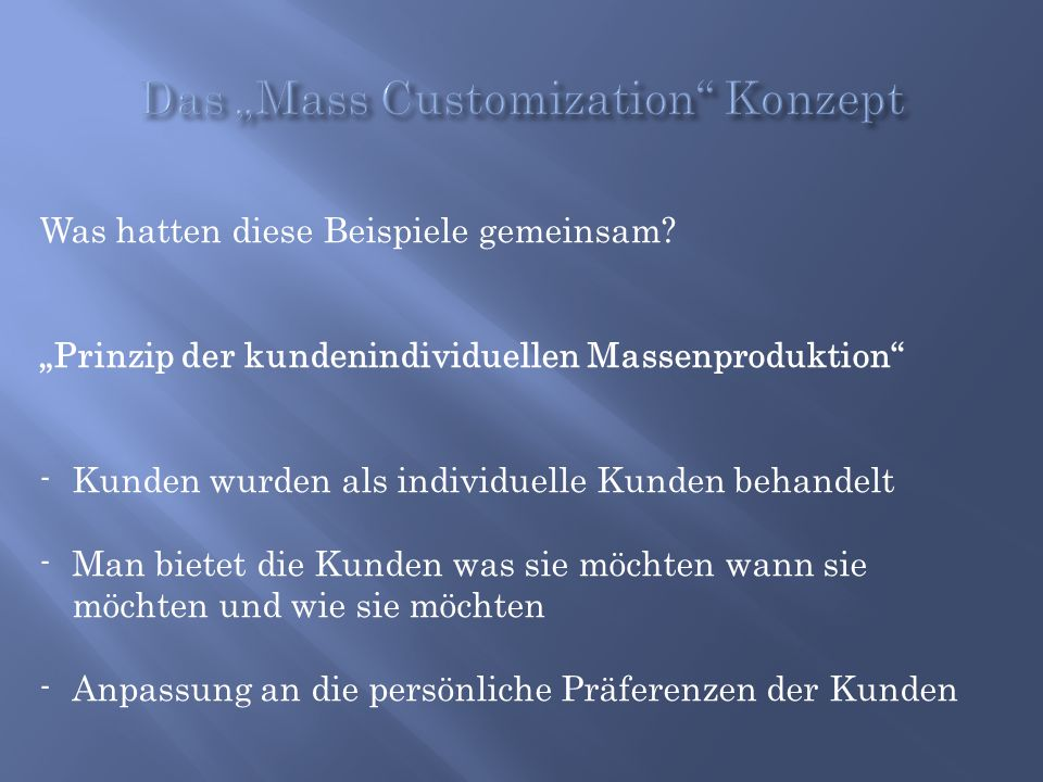 "Das ""Mass Customization Konzept"
