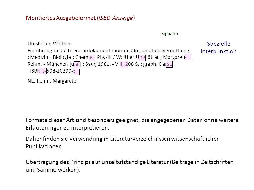 Montiertes Ausgabeformat (ISBD-Anzeige)