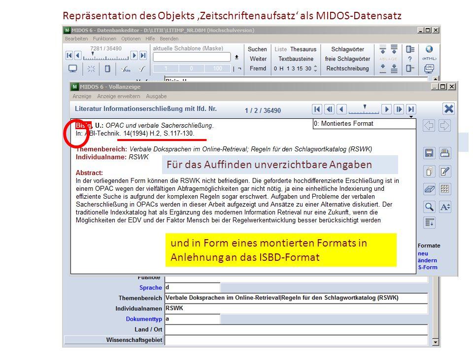 Repräsentation des Objekts 'Zeitschriftenaufsatz' als MIDOS-Datensatz