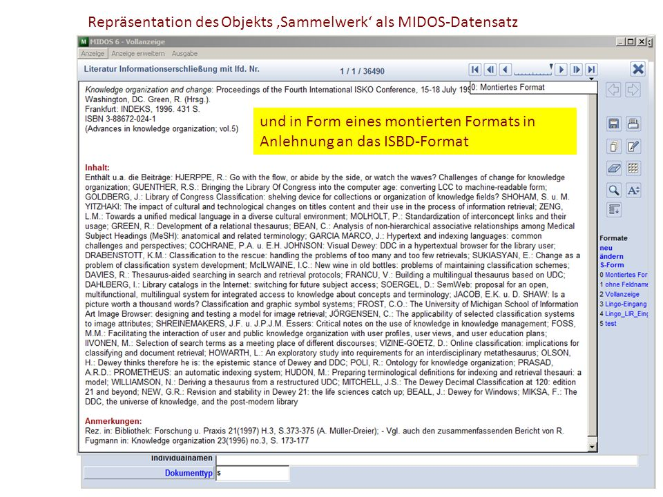 Repräsentation des Objekts 'Sammelwerk' als MIDOS-Datensatz