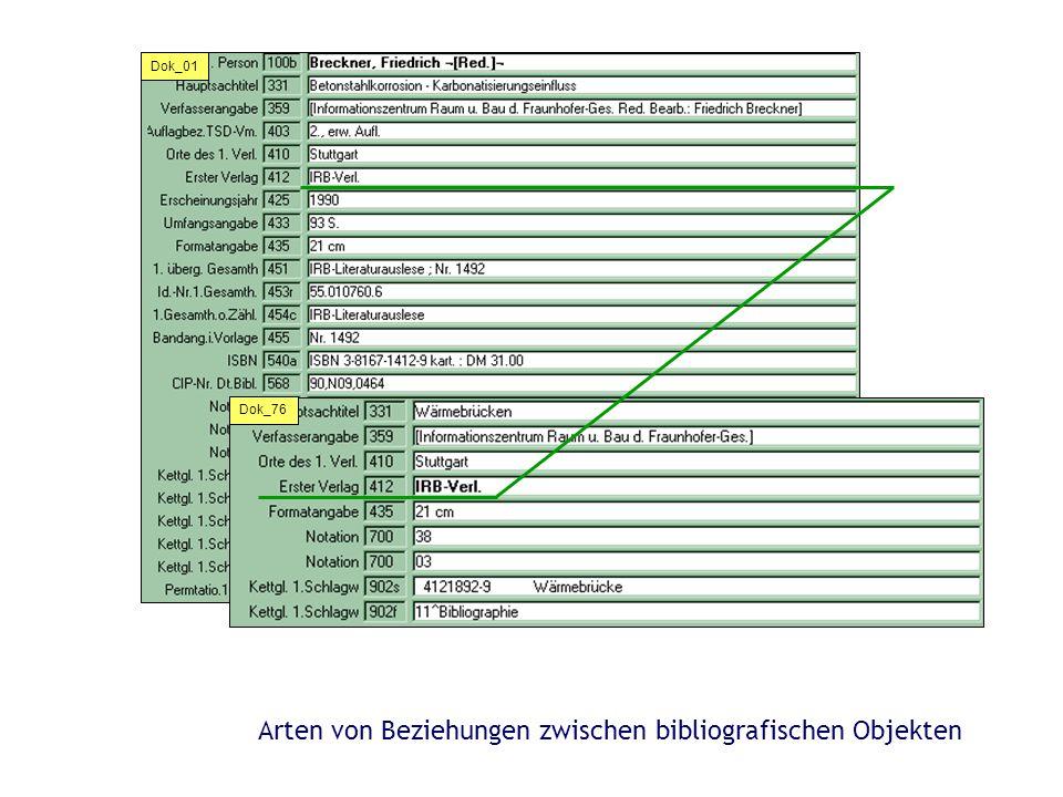 Arten von Beziehungen zwischen bibliografischen Objekten