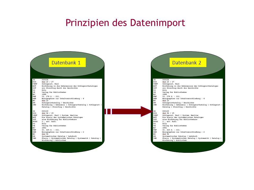 Prinzipien des Datenimport