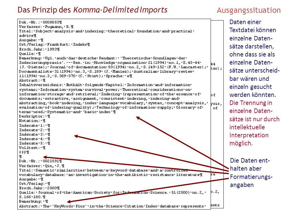 Das Prinzip des Komma-Delimited Imports Ausgangssituation