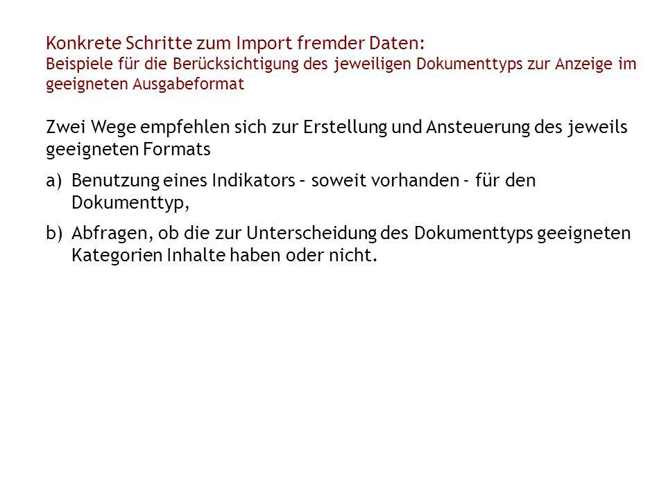 Konkrete Schritte zum Import fremder Daten: