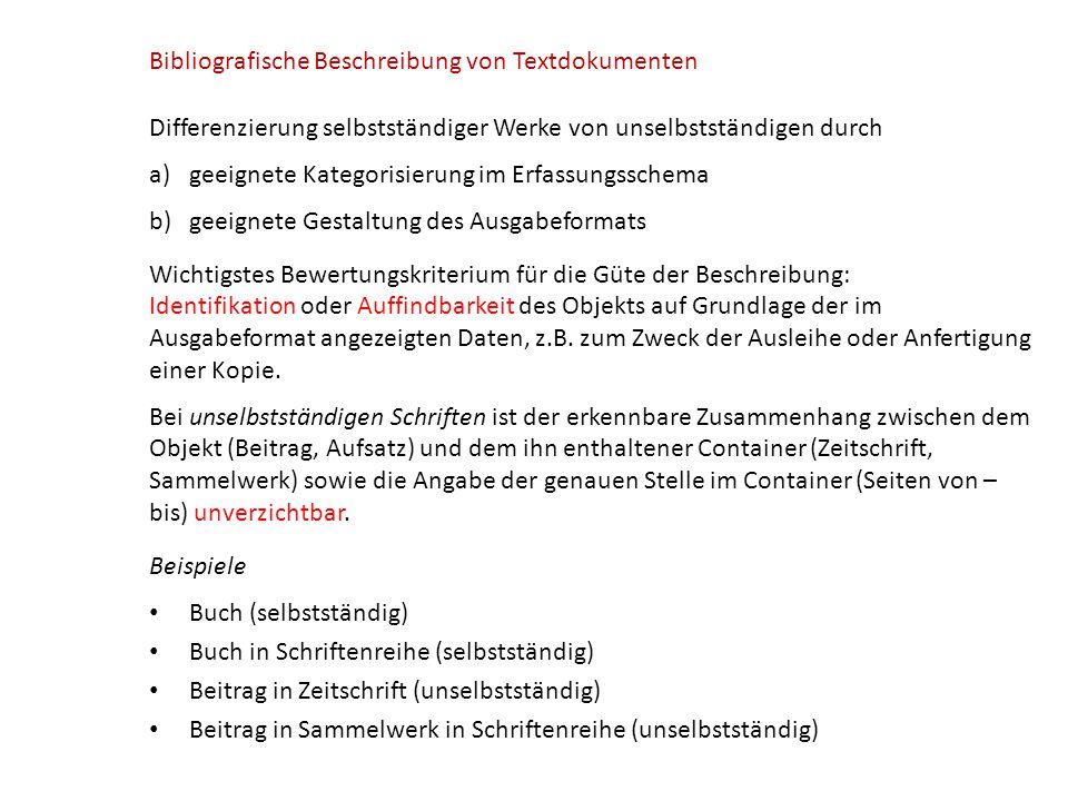 Bibliografische Beschreibung von Textdokumenten