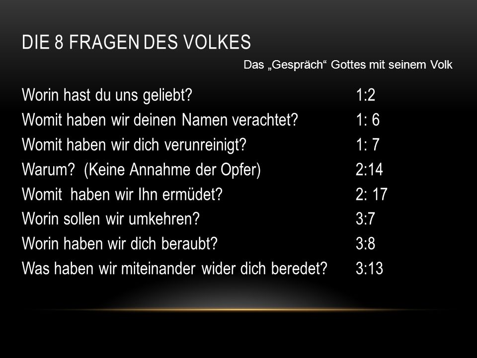"""Die 8 Fragen des Volkes Das """"Gespräch Gottes mit seinem Volk."""