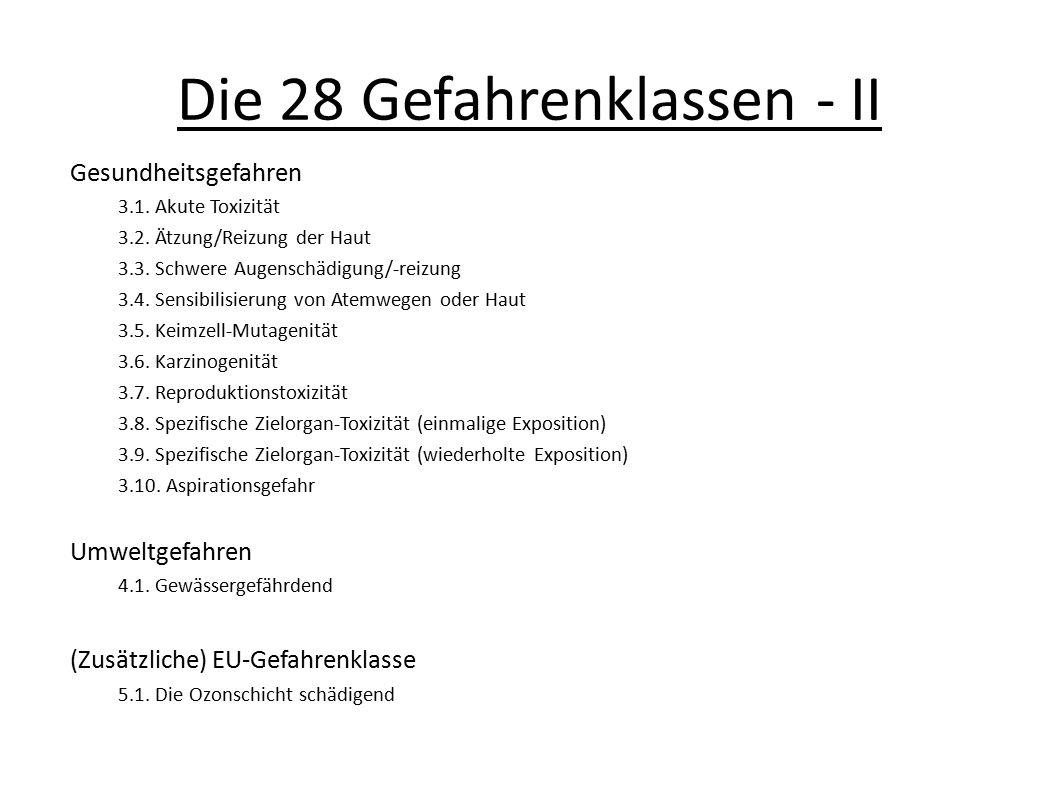 Die 28 Gefahrenklassen - II