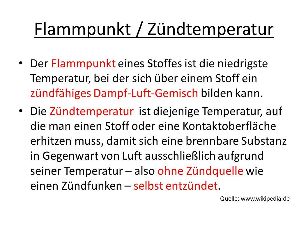 Flammpunkt / Zündtemperatur