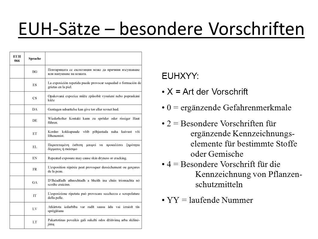 EUH-Sätze – besondere Vorschriften