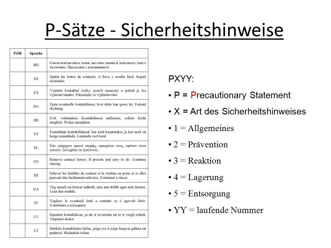 P-Sätze - Sicherheitshinweise