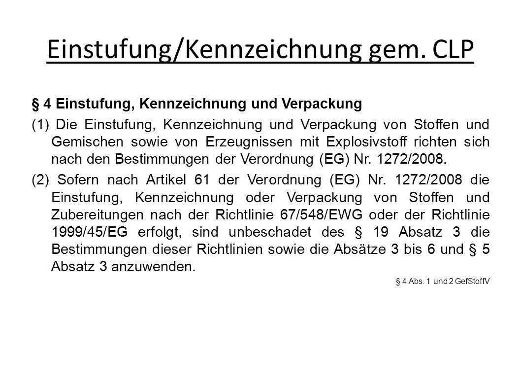 Einstufung/Kennzeichnung gem. CLP