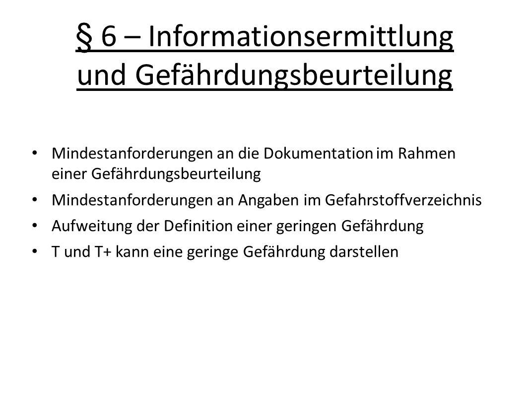 § 6 – Informationsermittlung und Gefährdungsbeurteilung