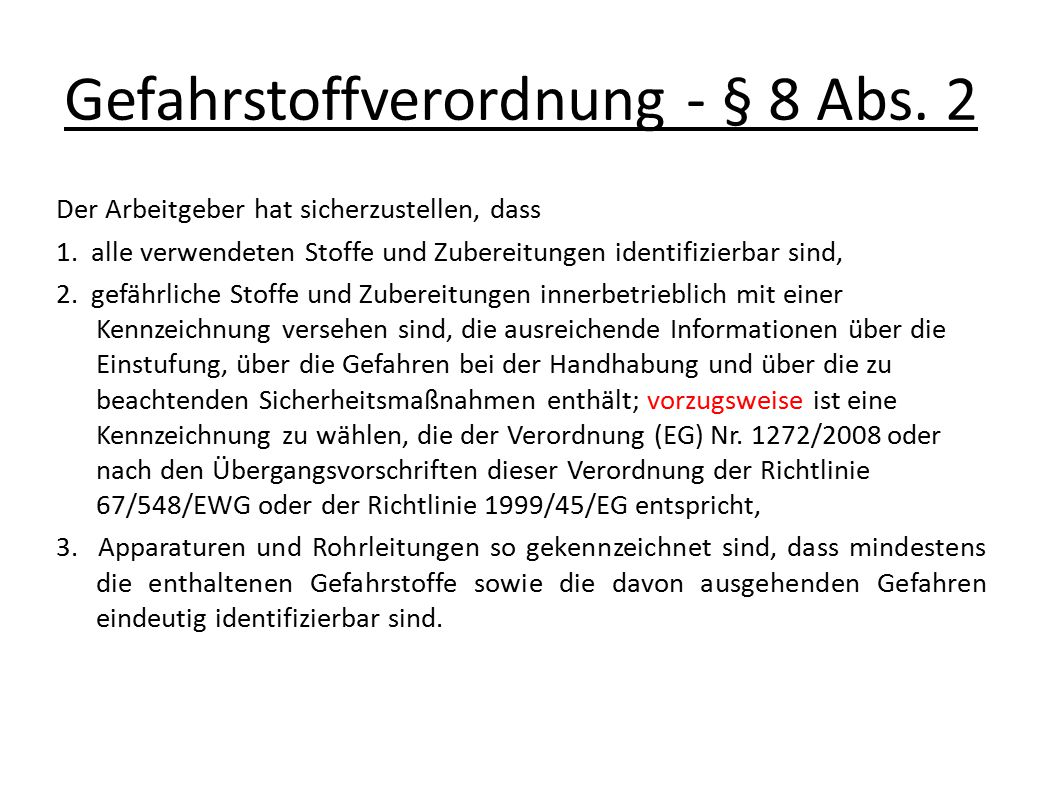 Gefahrstoffverordnung - § 8 Abs. 2