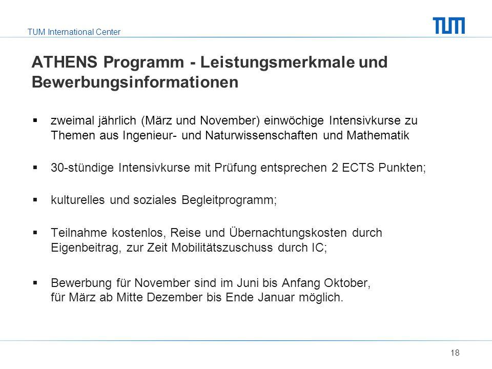ATHENS Programm - Leistungsmerkmale und Bewerbungsinformationen