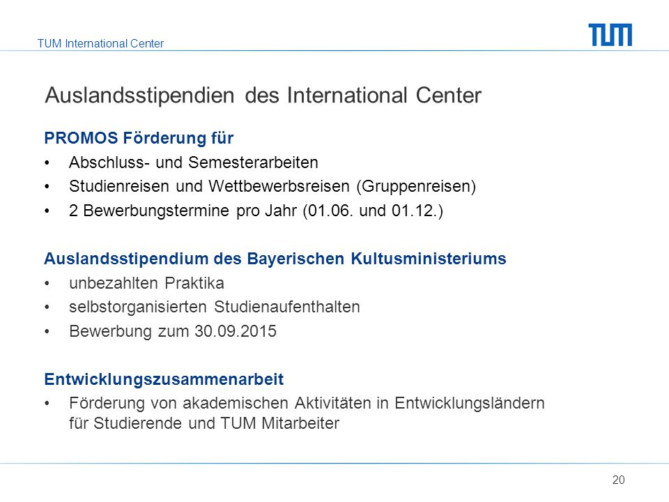 Auslandsstipendien des International Center