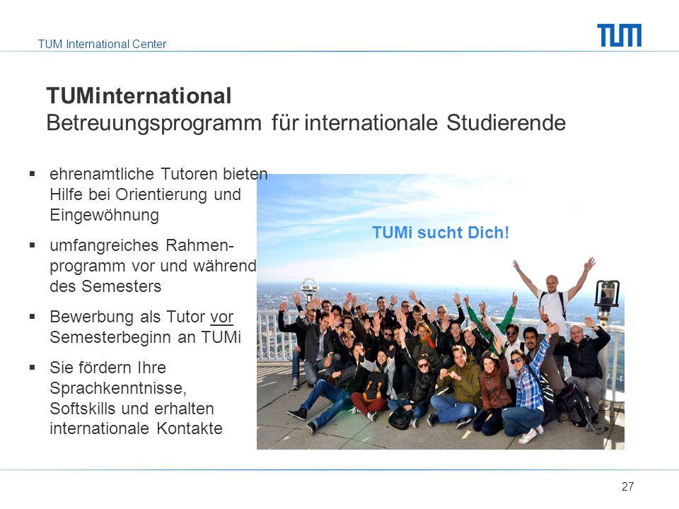 TUMinternational Betreuungsprogramm für internationale Studierende
