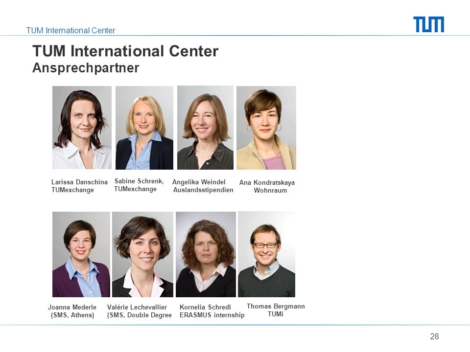 TUM International Center Ansprechpartner