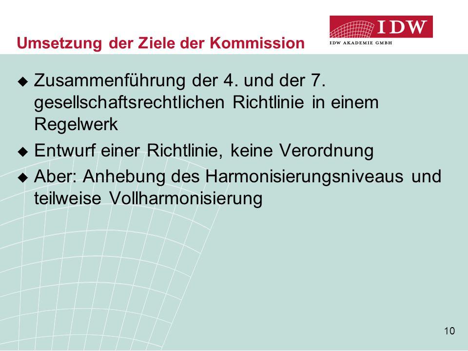 Umsetzung der Ziele der Kommission