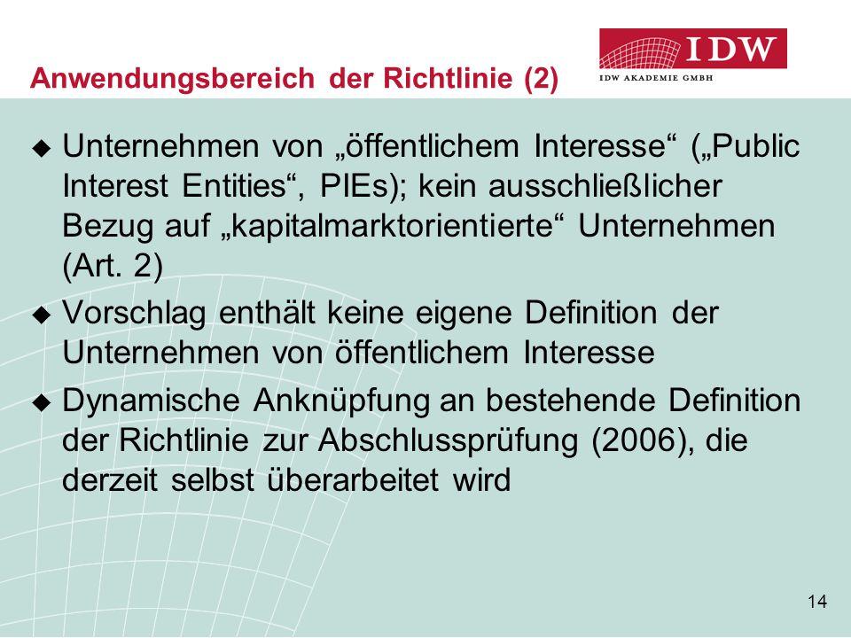 Anwendungsbereich der Richtlinie (2)