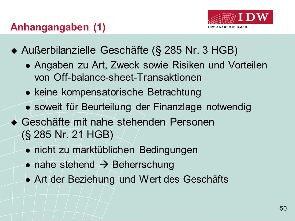 Außerbilanzielle Geschäfte (§ 285 Nr. 3 HGB)