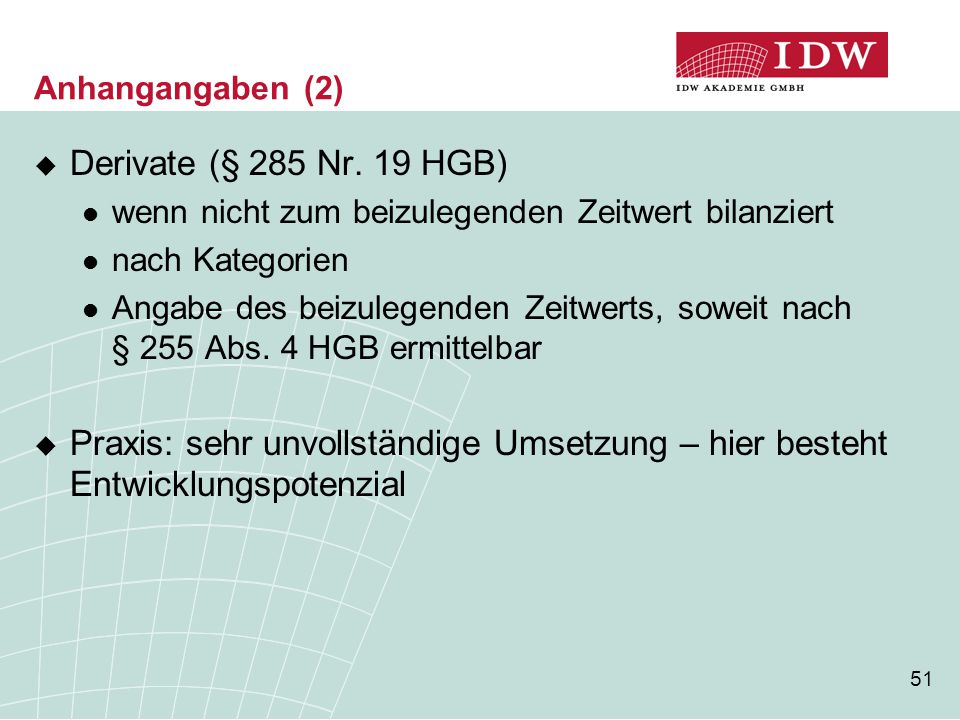 Anhangangaben (2) Derivate (§ 285 Nr. 19 HGB) wenn nicht zum beizulegenden Zeitwert bilanziert. nach Kategorien.