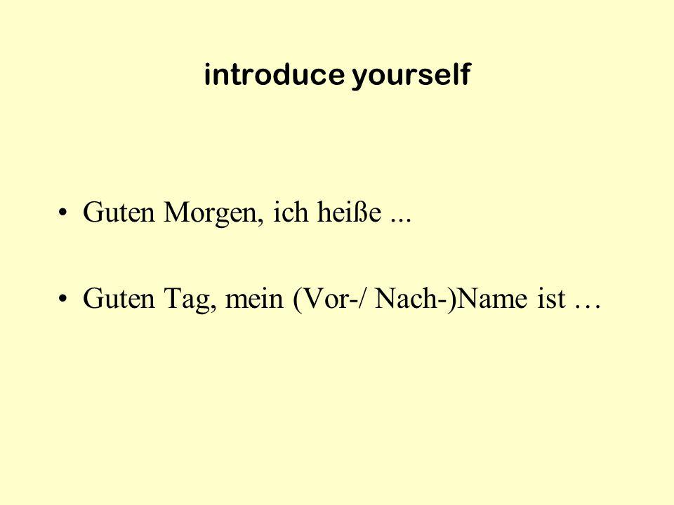 introduce yourself Guten Morgen, ich heiße ... Guten Tag, mein (Vor-/ Nach-)Name ist …