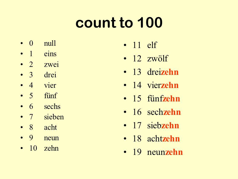 count to 100 11 elf 12 zwölf 13 dreizehn 14 vierzehn 15 fünfzehn