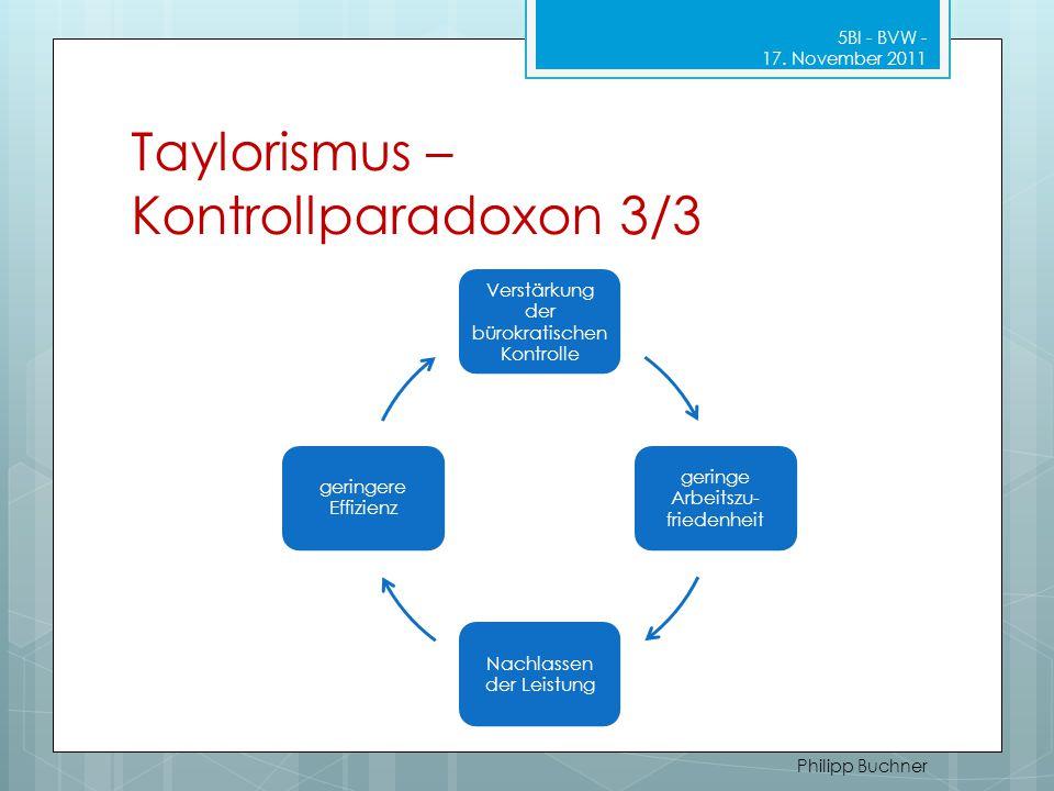 Taylorismus – Kontrollparadoxon 3/3