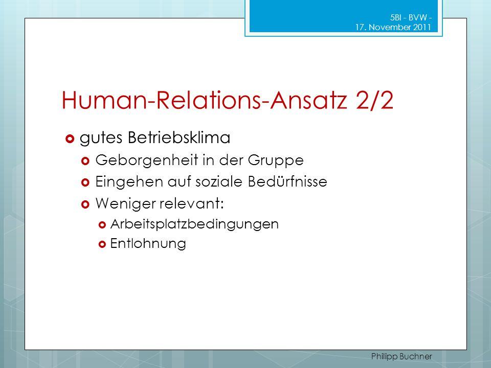 Human-Relations-Ansatz 2/2