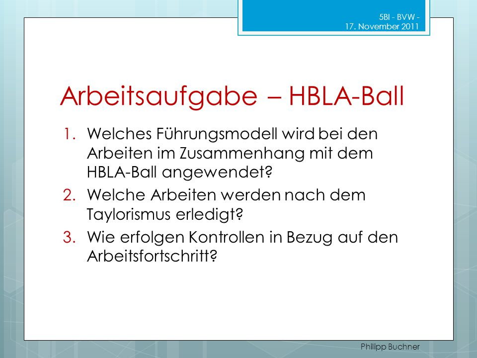 Arbeitsaufgabe – HBLA-Ball
