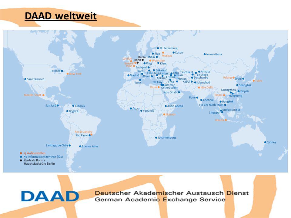 DAAD weltweit Gründungsjahr: 1925 ; seitdem >1,9 Mio. Akademiker unterstützt.