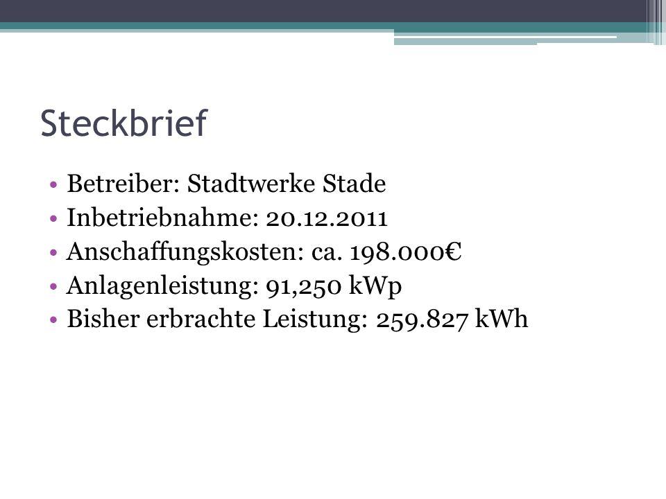 Steckbrief Betreiber: Stadtwerke Stade Inbetriebnahme: 20.12.2011