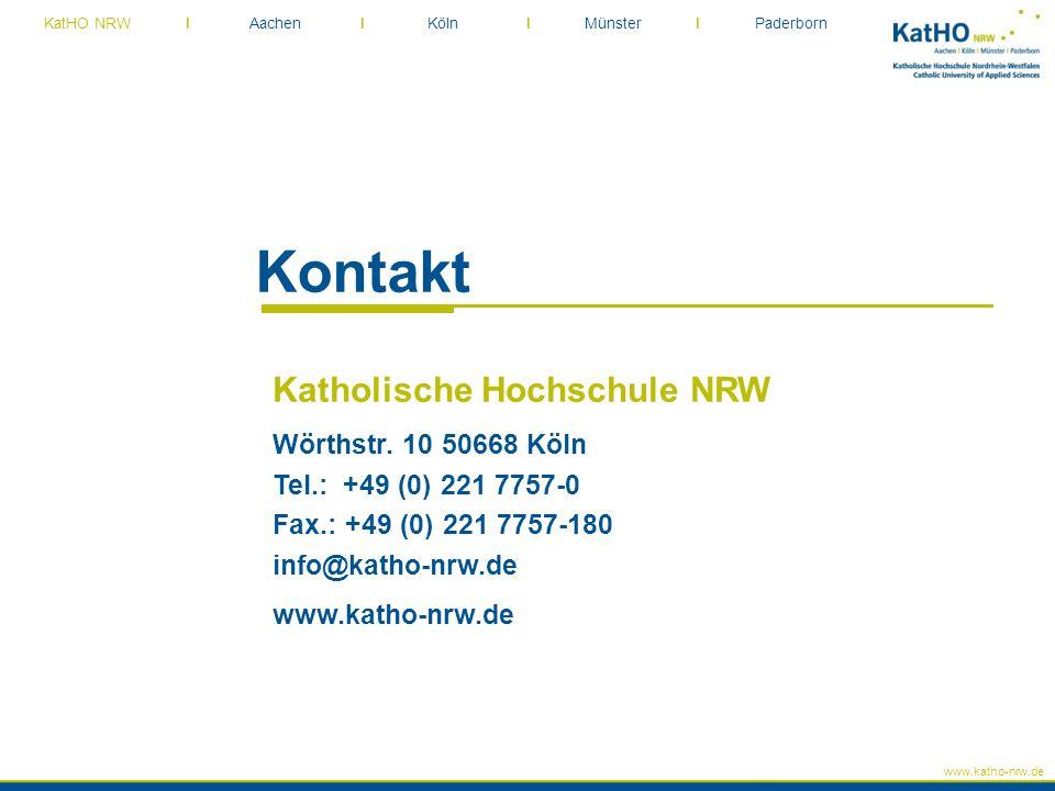 Kontakt Katholische Hochschule NRW Wörthstr. 10 50668 Köln