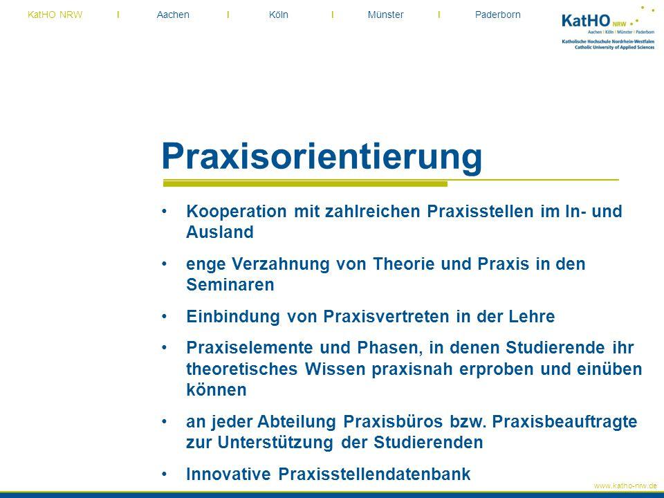 Praxisorientierung Kooperation mit zahlreichen Praxisstellen im In- und Ausland. enge Verzahnung von Theorie und Praxis in den Seminaren.