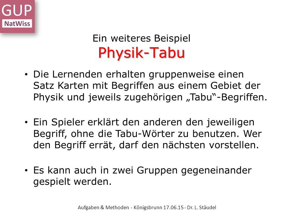 Ein weiteres Beispiel Physik-Tabu