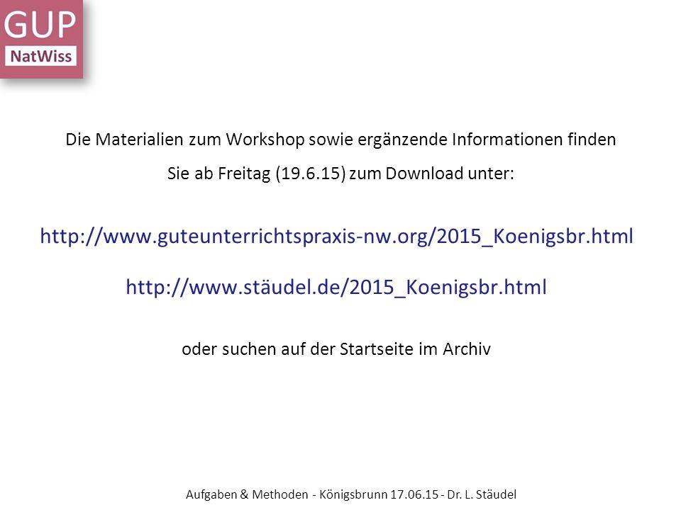 Die Materialien zum Workshop sowie ergänzende Informationen finden Sie ab Freitag (19.6.15) zum Download unter: