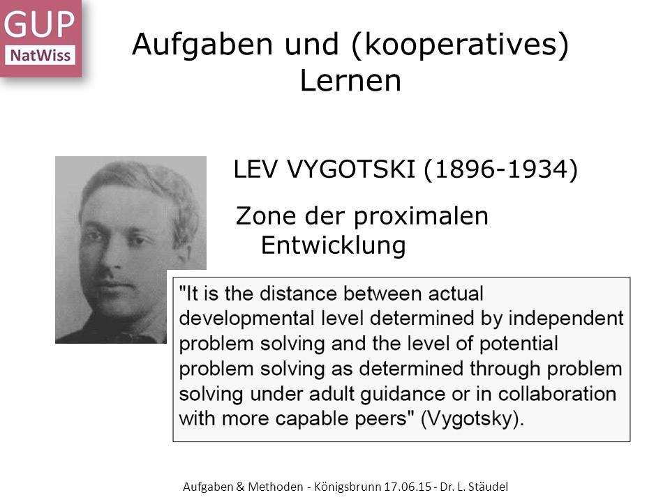 Aufgaben und (kooperatives) Lernen