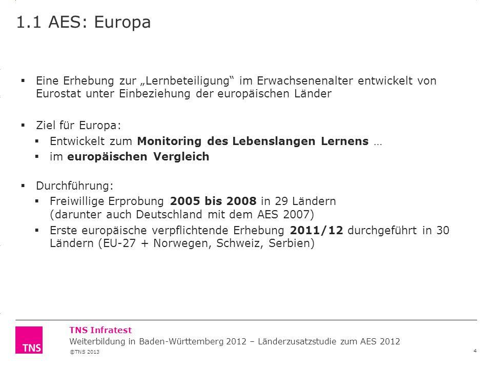 """1.1 AES: Europa Eine Erhebung zur """"Lernbeteiligung im Erwachsenenalter entwickelt von Eurostat unter Einbeziehung der europäischen Länder."""