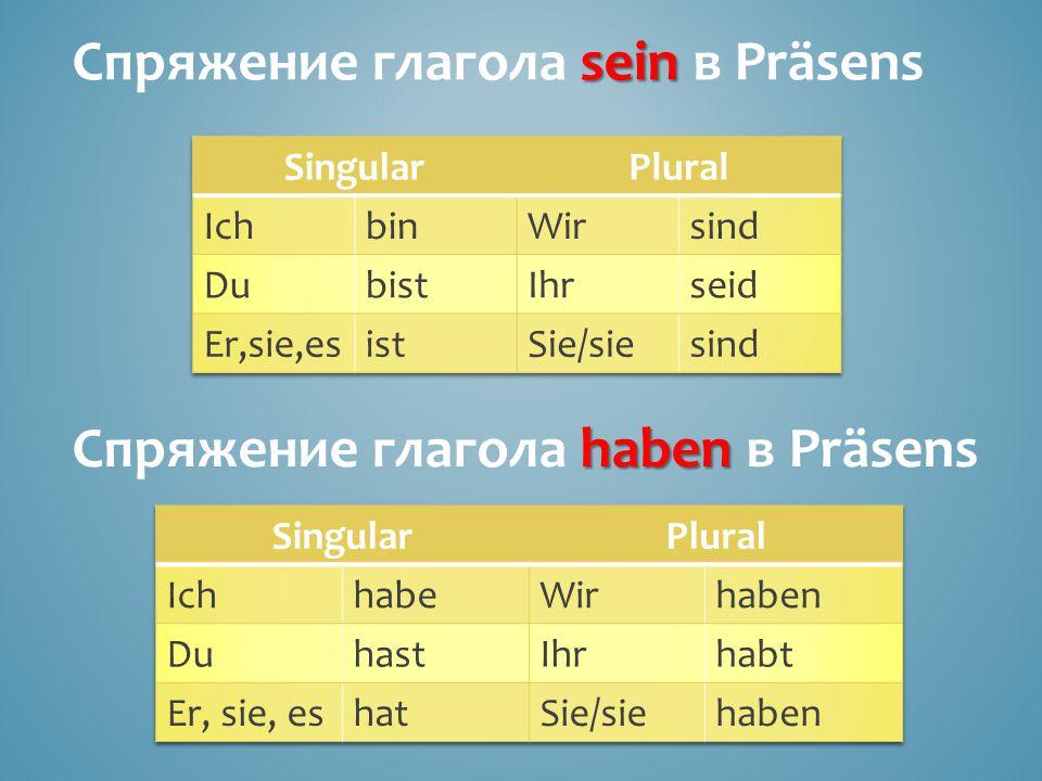 Спряжение глагола sein в Präsens
