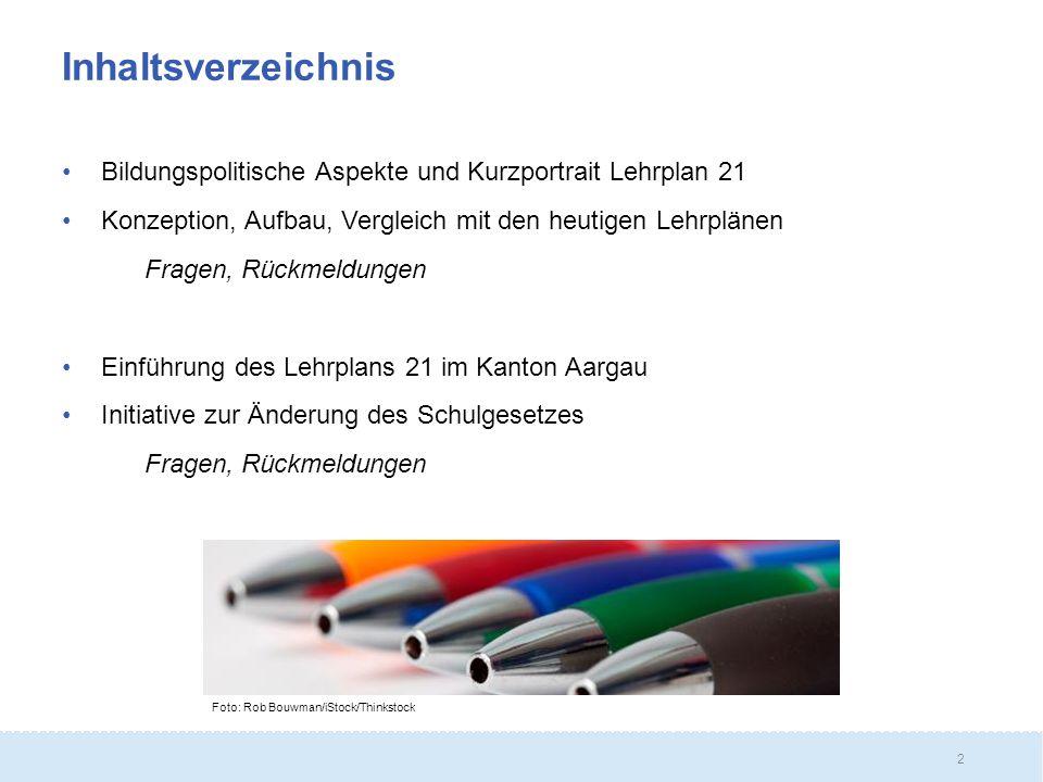 Inhaltsverzeichnis Bildungspolitische Aspekte und Kurzportrait Lehrplan 21. Konzeption, Aufbau, Vergleich mit den heutigen Lehrplänen.