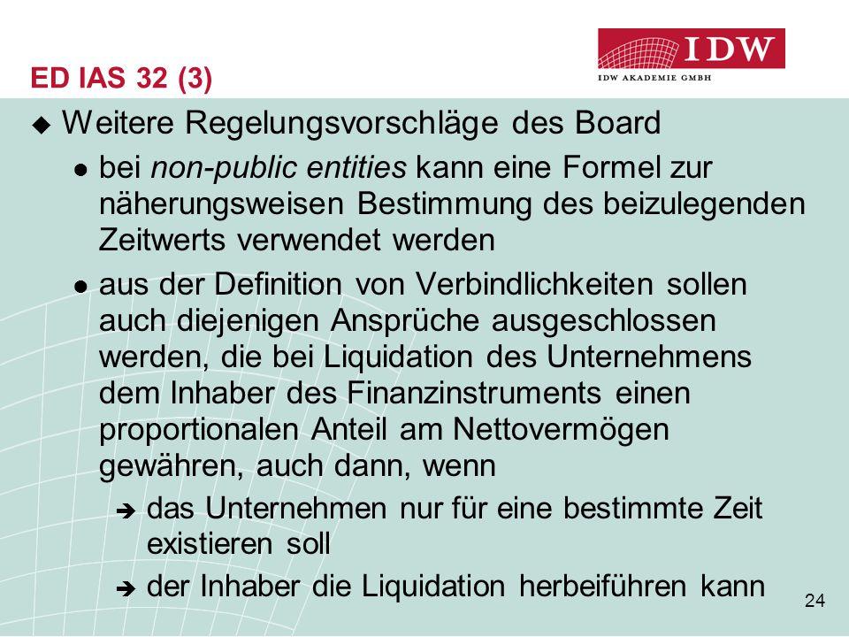 Weitere Regelungsvorschläge des Board