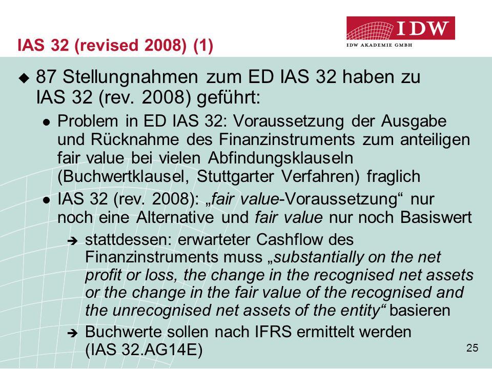 87 Stellungnahmen zum ED IAS 32 haben zu IAS 32 (rev. 2008) geführt: