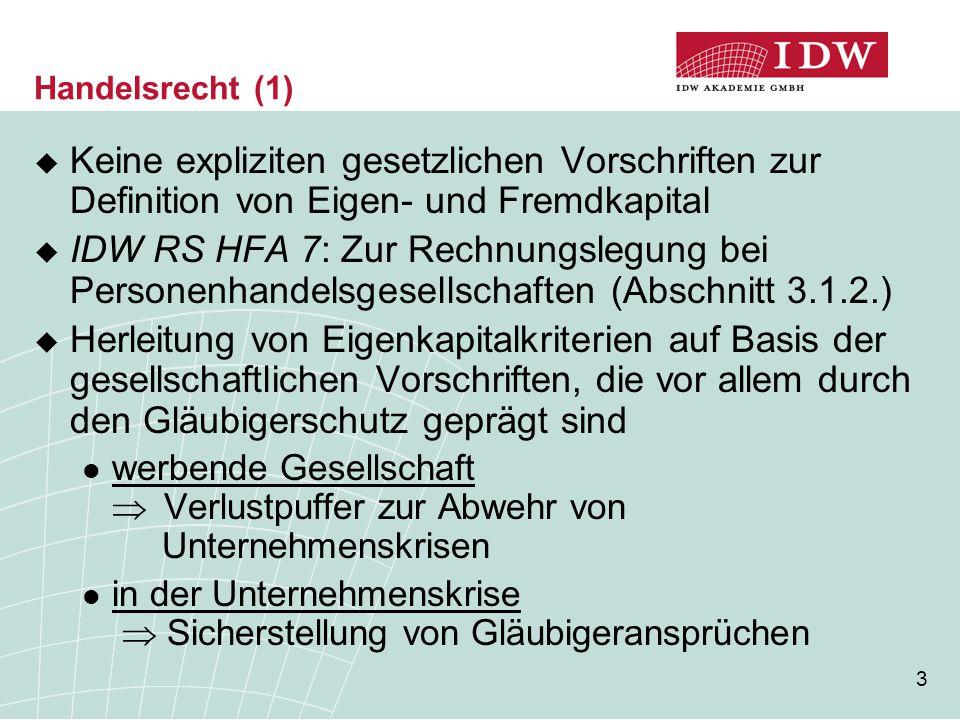 Handelsrecht (1) Keine expliziten gesetzlichen Vorschriften zur Definition von Eigen- und Fremdkapital.