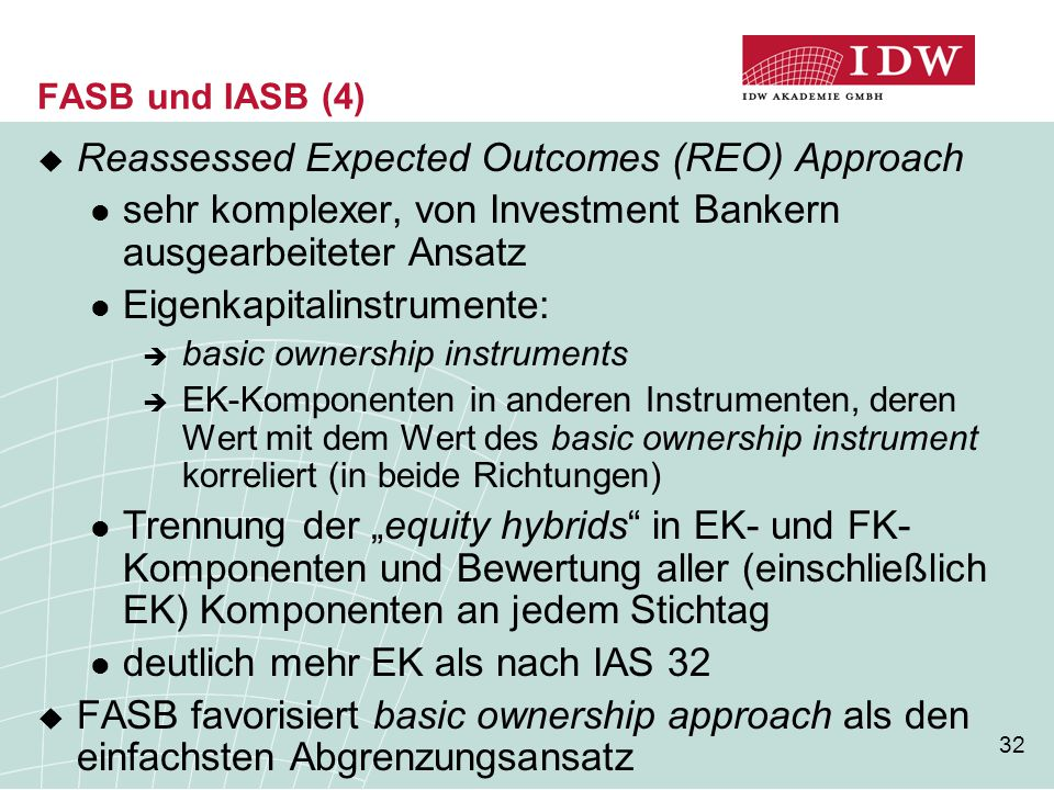 Reassessed Expected Outcomes (REO) Approach
