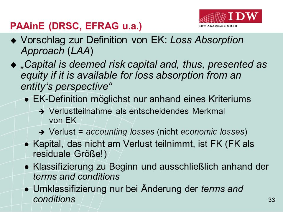 Vorschlag zur Definition von EK: Loss Absorption Approach (LAA)